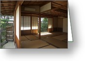 Prayer Warrior Greeting Cards - Zen Meditation Room Open To Garden - Kyoto Japan Greeting Card by Daniel Hagerman
