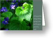Zen Quotes Greeting Cards - Zen Proverb with Violets Greeting Card by Heidi Hermes