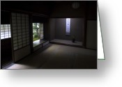 Shoji Screen Greeting Cards - ZEN TEA ROOM of KOTO-IN TEMPLE -- KYOTO JAPAN Greeting Card by Daniel Hagerman