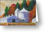 Clayton Painting Greeting Cards - Zenda Farm Fall Greeting Card by Robert P Hedden