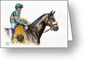 Jockeys Greeting Cards - Zenyatta Greeting Card by Thomas Allen Pauly