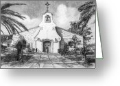 Landmarks Drawings Greeting Cards - Zephyrhills Catholic Church Greeting Card by Rod Varney