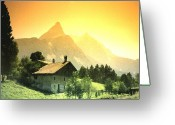 Mountains Mixed Media Greeting Cards - Zermatt Sunset   William Kaluta Artist Greeting Card by William Kaluta