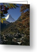 Housing Greeting Cards - Zermatt Village With The Matterhorn Greeting Card by Thomas J. Abercrombie