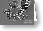 Cabernet Sauvignon Greeting Cards - Zin Black and White Greeting Card by Cheryl Young