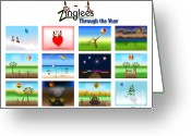 Fall Whimsical Digital Art Greeting Cards - Zinglees-Through the Year Greeting Card by Linda Seacord