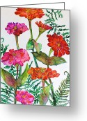 Aster  Painting Greeting Cards - Zinnia and Ferns Greeting Card by Janet Immordino