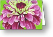 Fushia Painting Greeting Cards - Zinnia Greeting Card by Debbie Brown