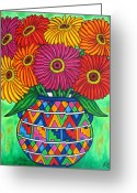 Mexican Flowers Greeting Cards - Zinnia Fiesta Greeting Card by Lisa  Lorenz
