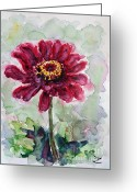Most Painting Greeting Cards - Zinnia  Greeting Card by Zaira Dzhaubaeva