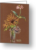 Giclee Pastels Greeting Cards - Zinnias Greeting Card by Donald Maier