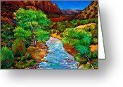 Green Painting Greeting Cards - Zion Greeting Card by Johnathan Harris