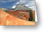 Utah Weather Greeting Cards - Zion National Park as a storm rolls in Greeting Card by Christine Till