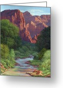 Four Corners Greeting Cards - Zion Greeting Card by Randy Follis