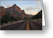 Yellow Line Greeting Cards - Zion Road Greeting Card by Jason Cameron