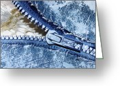 Blue Sculpture Greeting Cards - Zipper in Blue Greeting Card by Nancy Mueller