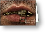 Secrecy Greeting Cards - Zipper on mouth Greeting Card by Blink Images