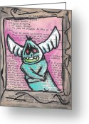 Faux Vintage Greeting Cards - Zomb-angel Greeting Card by Jera Sky