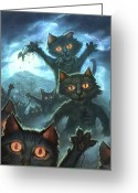 Feline Painting Greeting Cards - Zombie Cats Greeting Card by Jeff Haynie