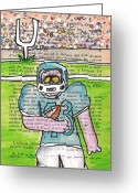 Player Mixed Media Greeting Cards - Zombie Football Greeting Card by Jera Sky