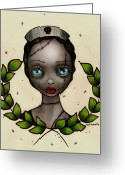 Surreal Tapestries Textiles Greeting Cards - Zombie Nurse Greeting Card by  Abril Andrade Griffith