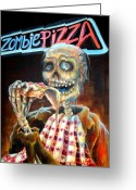 Neon Sign Greeting Cards - Zombie Pizza Greeting Card by Heather Calderon