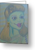 Zombie Pastels Greeting Cards - Zombie Queen Greeting Card by Jason Longbrake