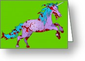 Deathly Greeting Cards - Zombie Unicorn Greeting Card by Jera Sky