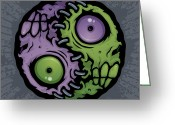 Illustration Greeting Cards - Zombie Yin-Yang Greeting Card by John Schwegel