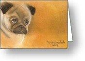 Orange Pastels Greeting Cards - Zooey The Pug Greeting Card by Dindin Coscolluela