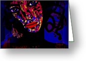 Dark Blue Chin Greeting Cards - Zora Greeting Card by Natalie Holland
