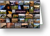Cityscape Pyrography Greeting Cards - Zrenjanin Collage Greeting Card by Janos Kovac