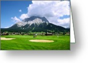 Golf Green Greeting Cards - Zugspitze Arena Greeting Card by Kevin Smith