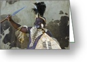African Warrior Greeting Cards - Zulu Challenge Greeting Card by Michele Burgess