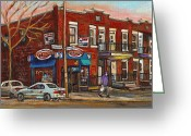 Life In The City Greeting Cards - Zytynskys Deli Rosemont Montreal Greeting Card by Carole Spandau