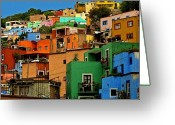 Darian Day Greeting Cards - Guanajuato Hillside 1 Greeting Card by Olden Mexico