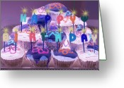 Candles Greeting Cards - Happy Birthday Greeting Card by Holly Kempe