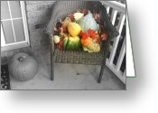 Wicker Chair Greeting Cards - Harvest Time Greeting Card by Deborah MacQuarrie