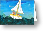 Storybook Greeting Cards - Hedgehogs Go A Sailing-Oh Greeting Card by Kerry Hartjen