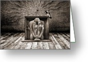 Dark Greeting Cards - Hiding Greeting Card by Photodream Art
