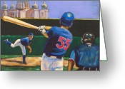 Cubs Painting Greeting Cards - Home Run Greeting Card by Buffalo Bonker