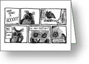Owl Drawings Greeting Cards - Hoot Comic Greeting Card by Karl Addison