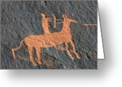 Petroglyph Greeting Cards - Horse and Arrow Greeting Card by David Lee Thompson