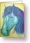 Colorful Drawings Greeting Cards - Horse profile Greeting Card by Nick Gustafson