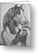 Wild-life Greeting Cards - Horses Greeting Card by Nick Gustafson