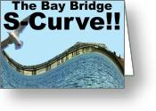 Bay Mixed Media Greeting Cards - I Survived the Bay Bridge S.Curve Greeting Card by Wingsdomain Art and Photography