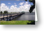 Intercoastal Greeting Cards - Indialantic Pier On The Indian River Lagoon In Central Florida Greeting Card by Allan  Hughes