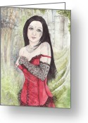 Elves Greeting Cards - Irissa of the Dulcamara Greeting Card by Morgan Fitzsimons