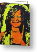 Joplin Greeting Cards - Janis Joplin Greeting Card by Eric Dee
