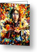 Beatles Painting Greeting Cards - John Lennon Greeting Card by Leonid Afremov
